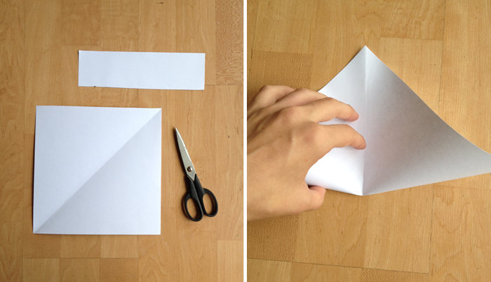 step two of a DIY paper envelope