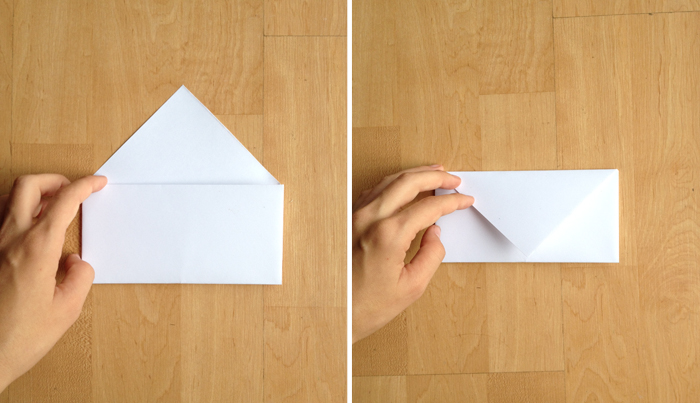 step four of a DIY paper envelope