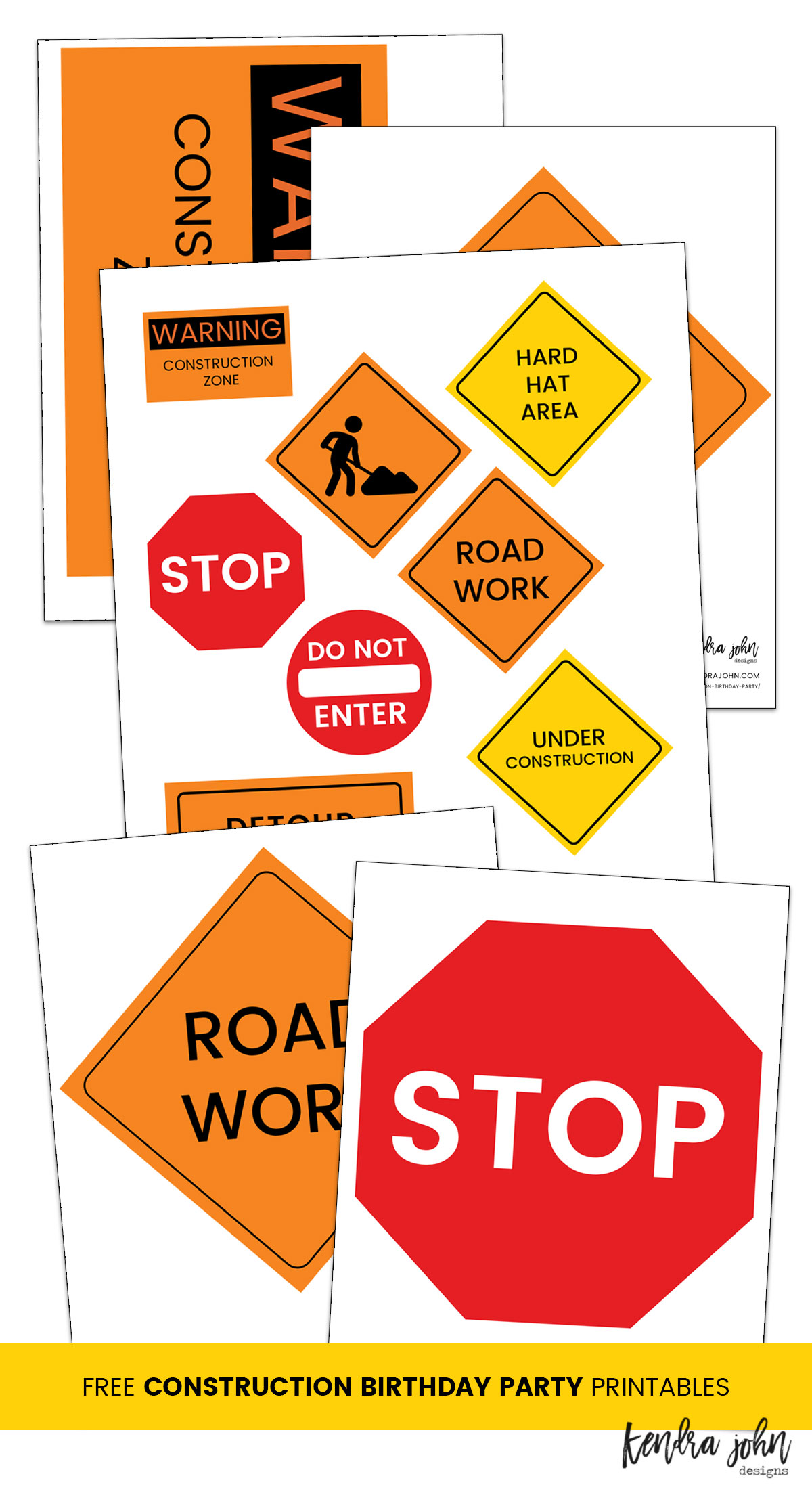 graphic about Printable Construction Signs called Straightforward Structure Birthday Bash Designs furthermore No cost Printables!