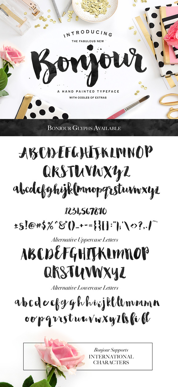 Bonjour! A Beautiful Brush-Lettered Font!