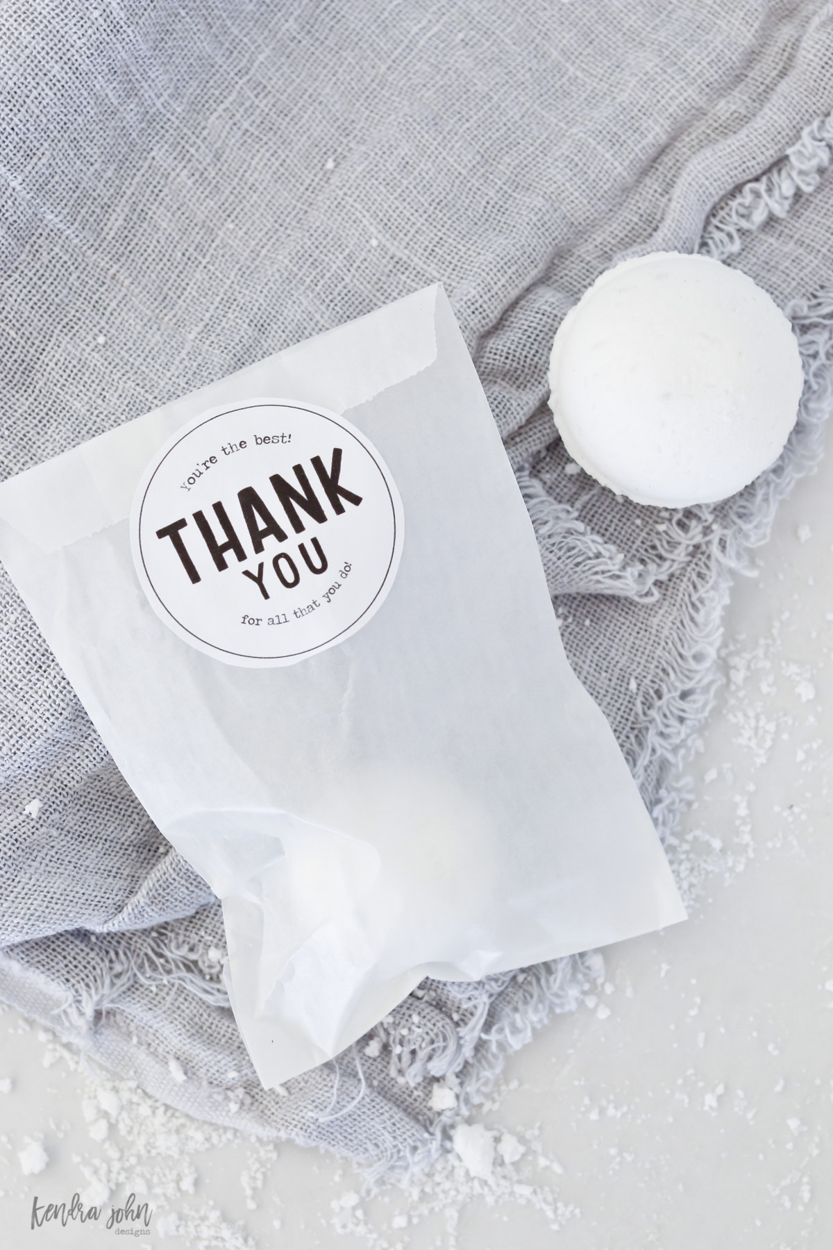 "Bath Bomb in bag for gifting with ""Thank You"" gift tag"