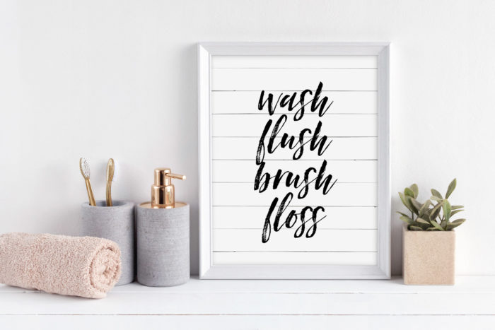 Wash Flush Brush Floss print with Shiplap in a white 8x10 frame.