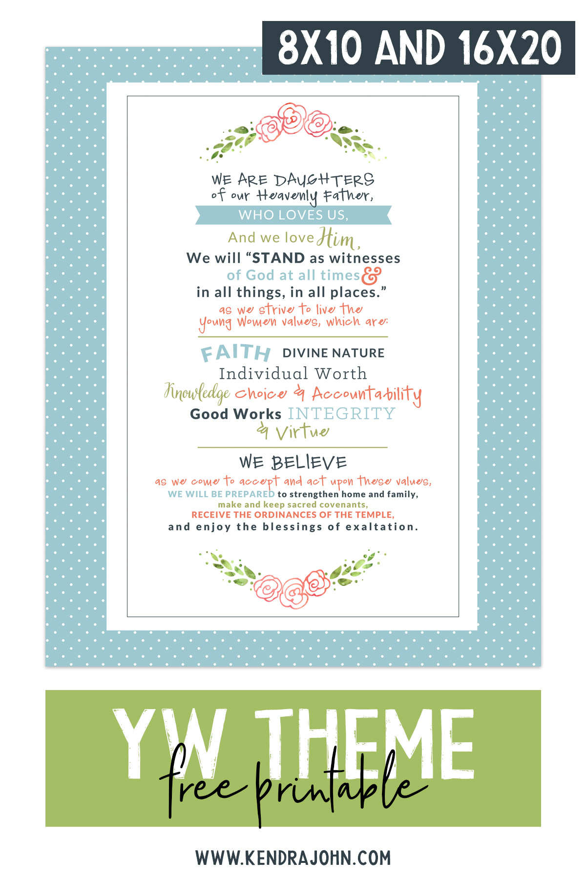YW Theme Free Printable