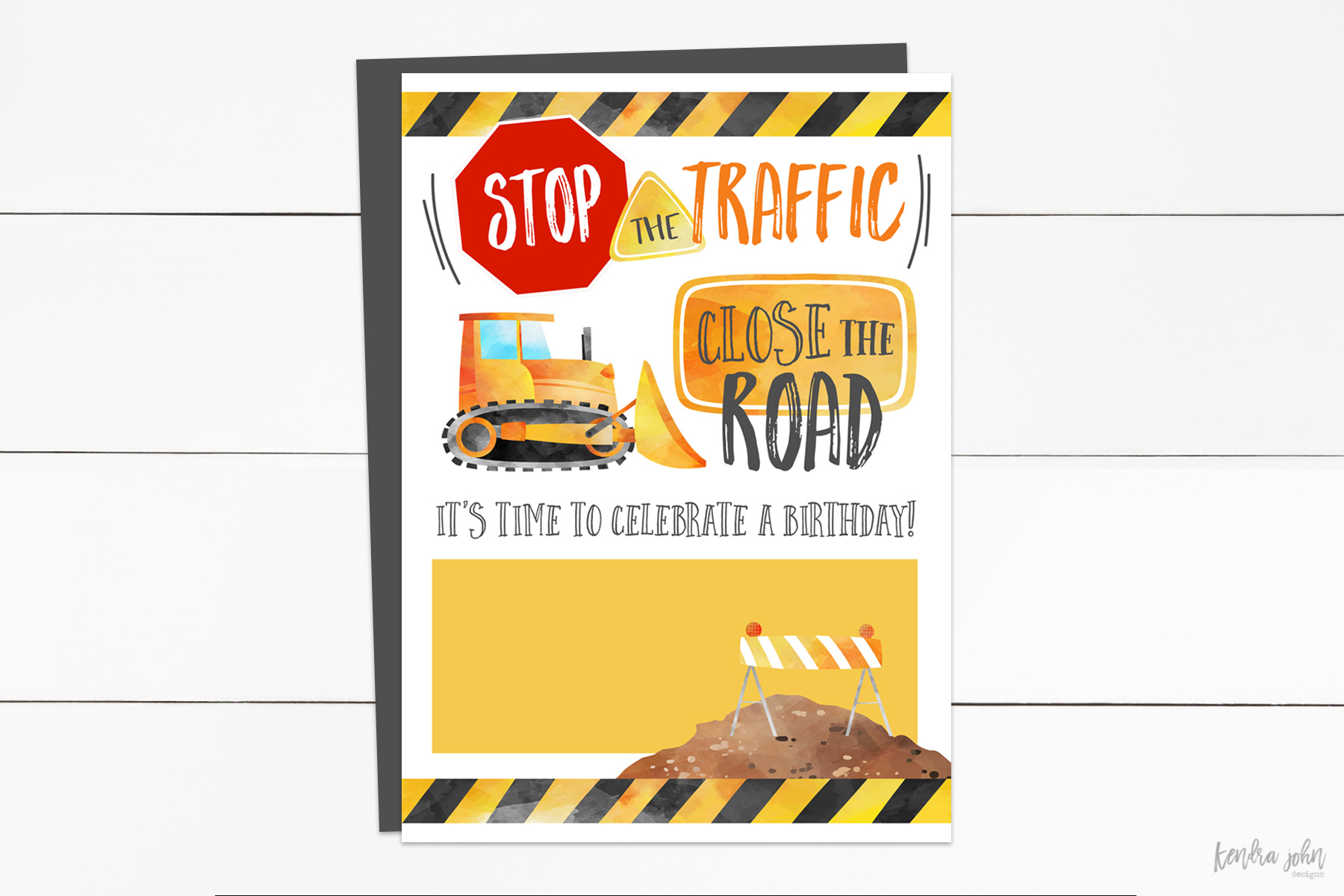 Construction Birthday Invitation with blank space for text