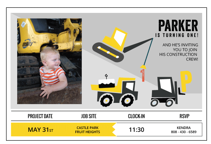 customized construction truck birthday invitation