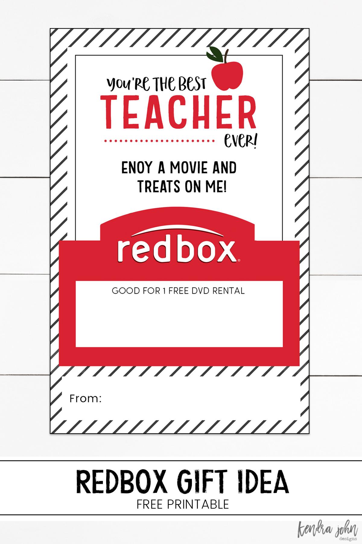 Redbox Teacher Appreciation Gift Printable