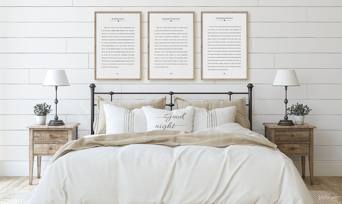 3 book page quotes above bed farmhouse style