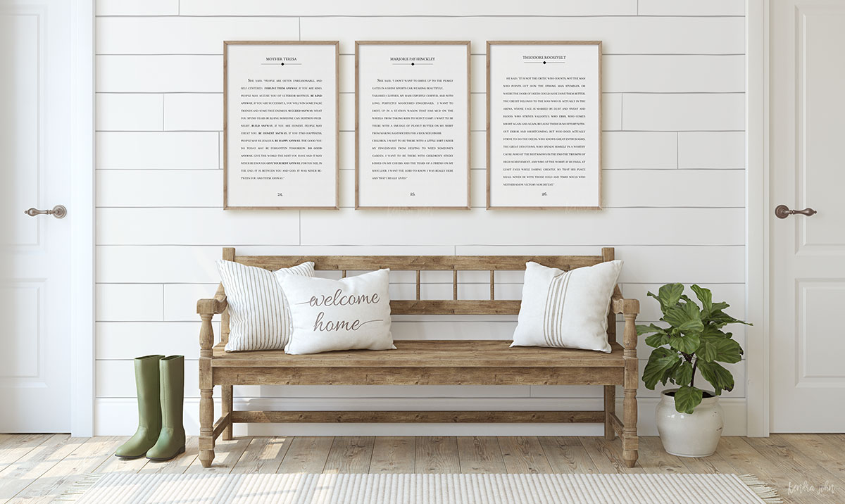 3 frames book page quotes in entryway
