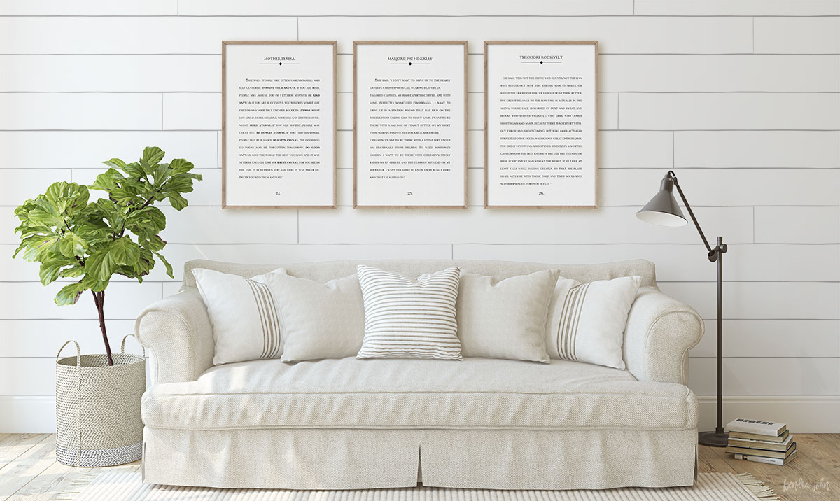 Large Book Poster over Couch with Shiplap walls