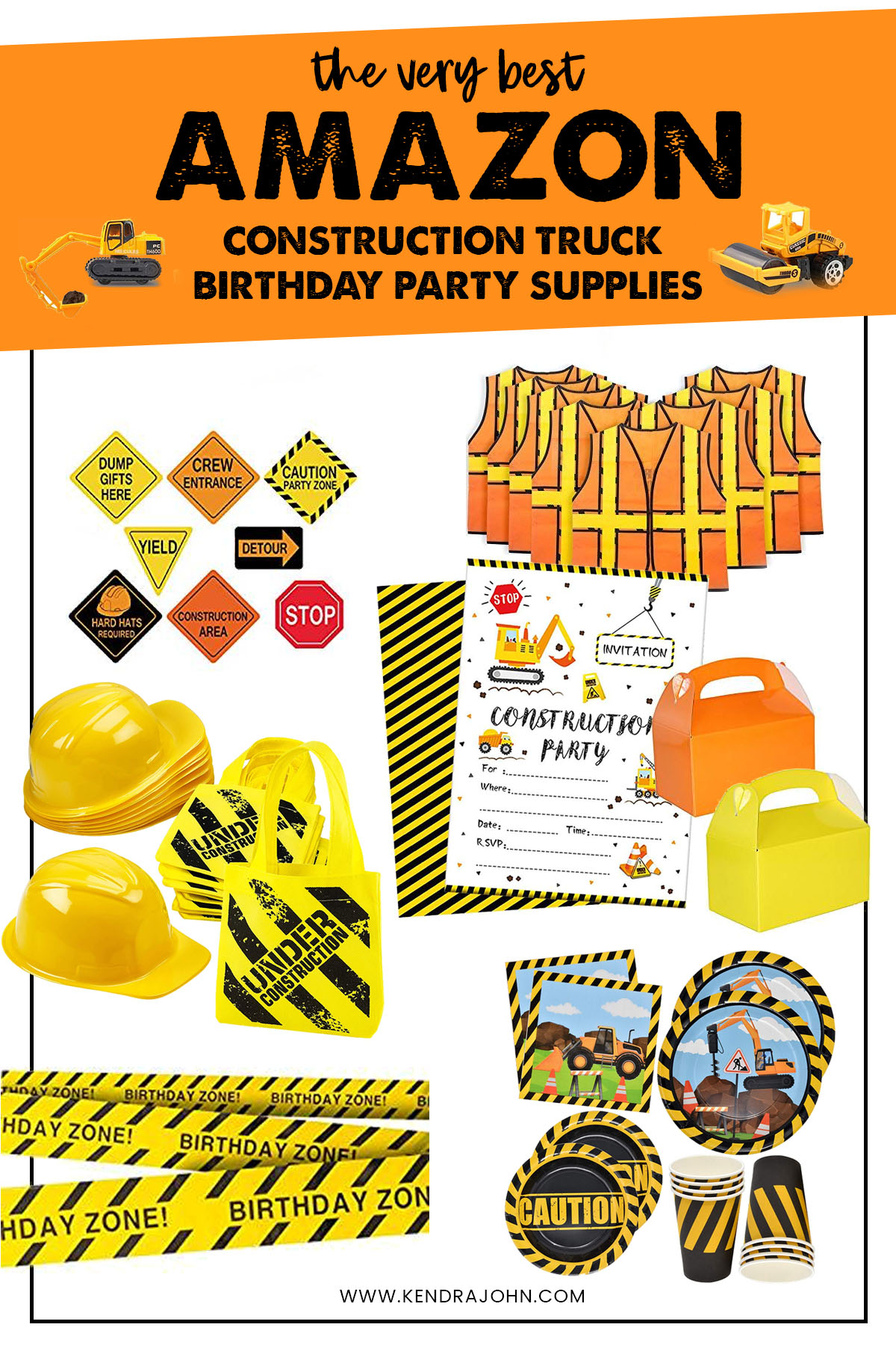 Construction Birthday Party Supplies Collage
