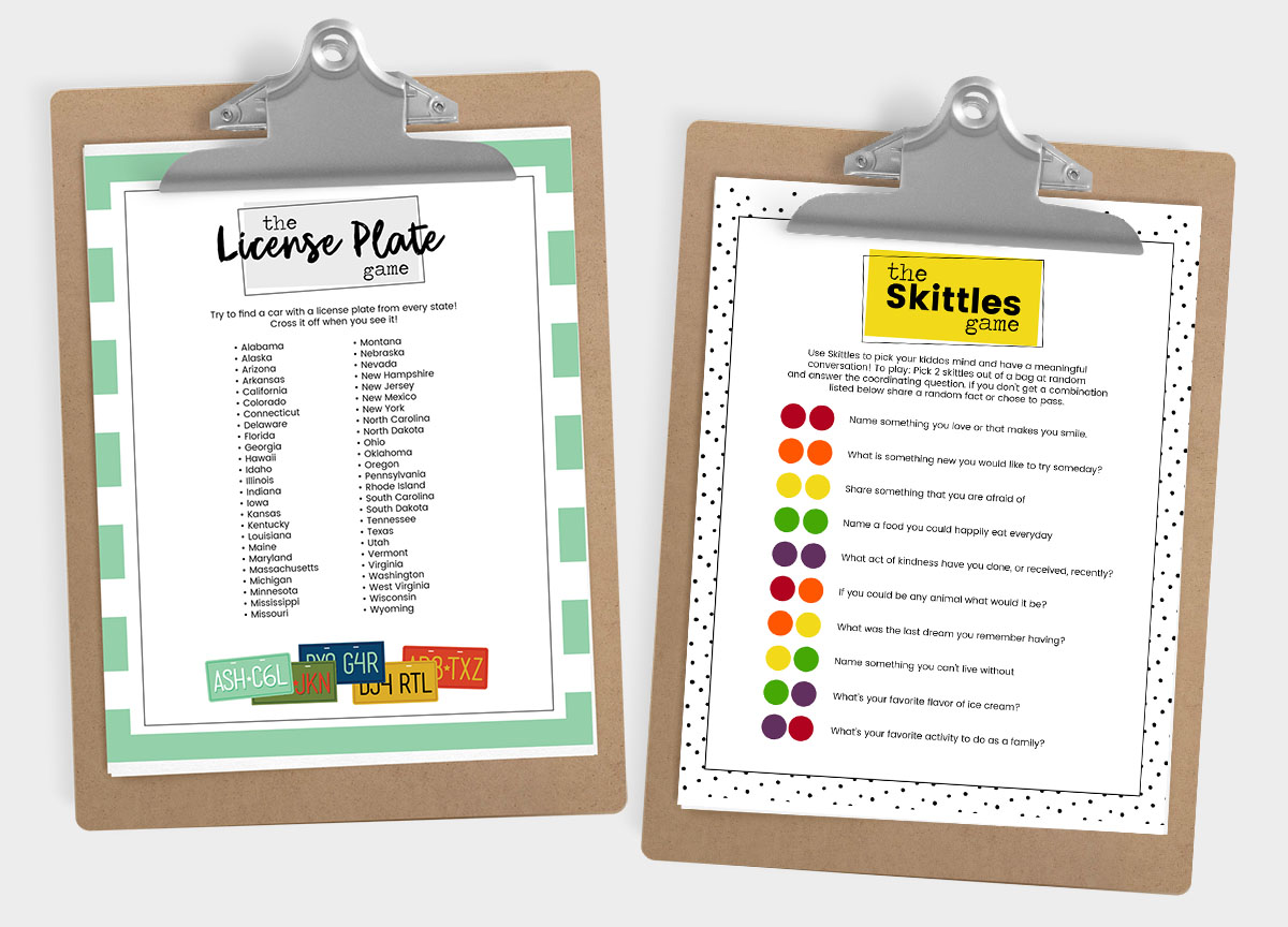 road trip printables on a clipboard