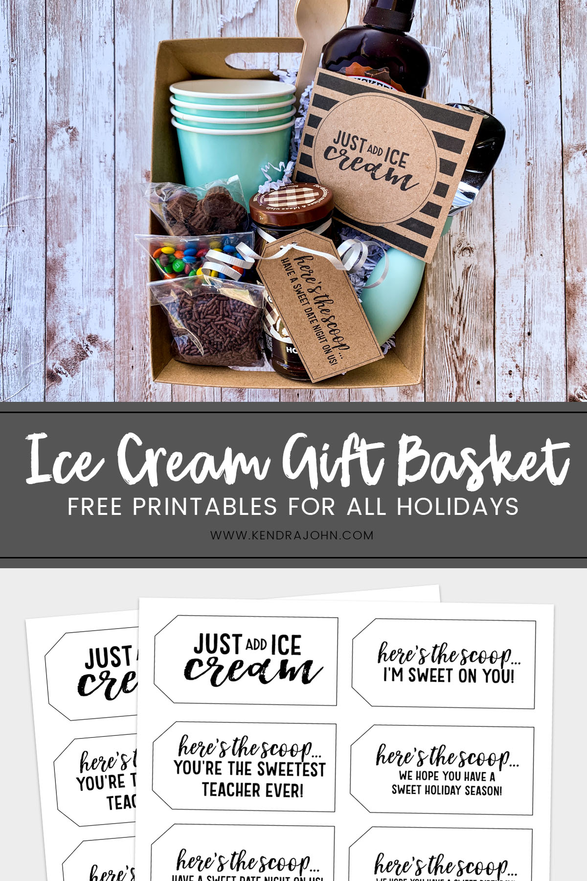 Ice Cream Gift Basket Idea for Pinterest