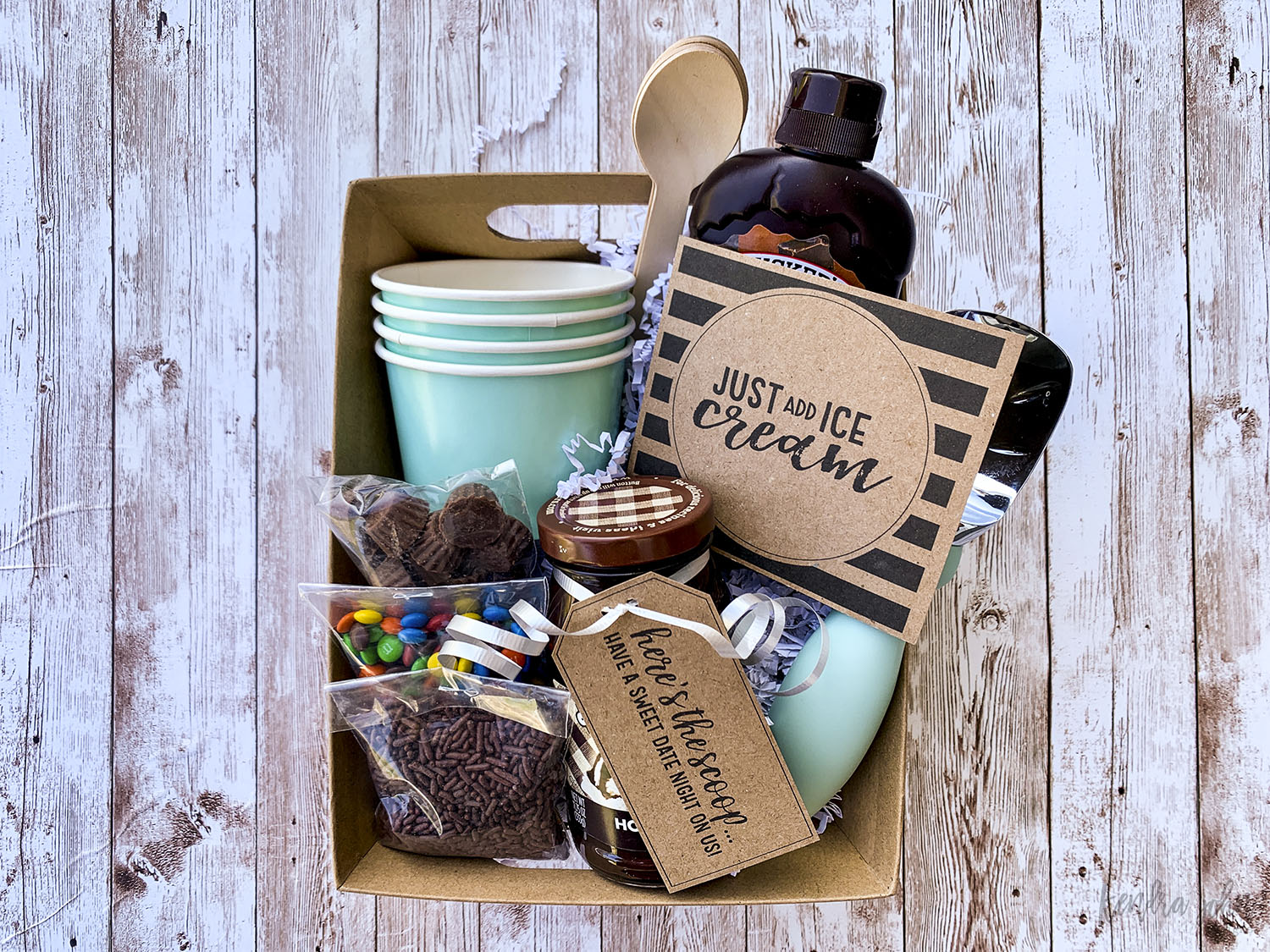 Ice Cream Gift Basket on Wood Background